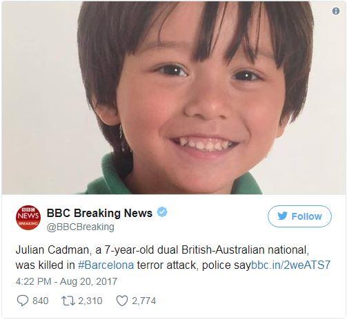 Barcelonai terror: meghalt az eltűntnek nyilvánított ausztrál gyermek