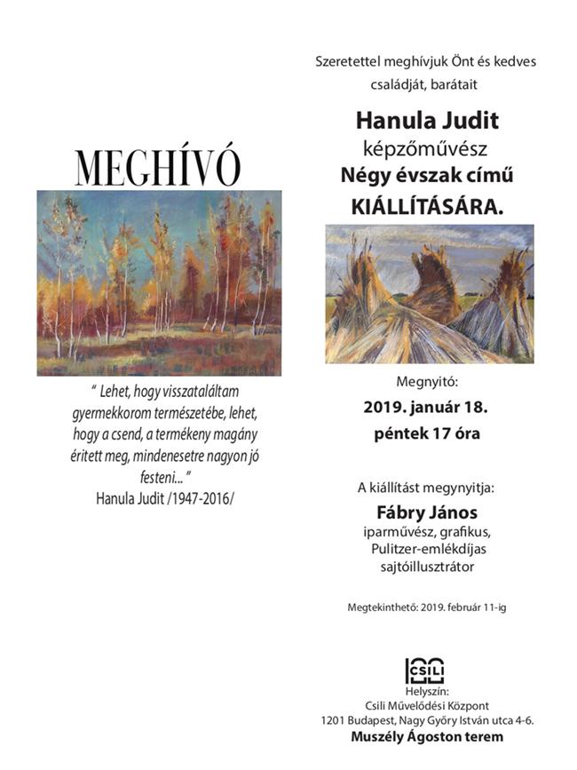 Hanula Judit Négy évszak kiállítási meghívó